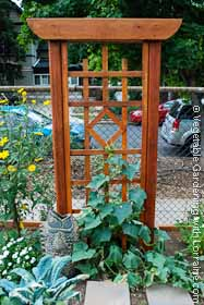 Vertical vegetable gardening for Japanese garden trellis designs