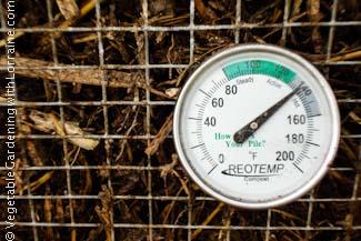 A balanced compost pile heats up