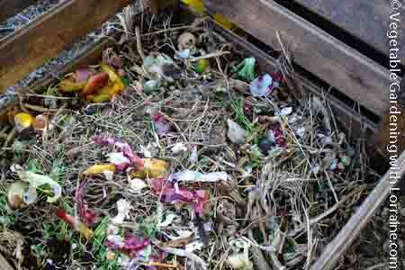 This compost pile doesn't stink because it has the right balance